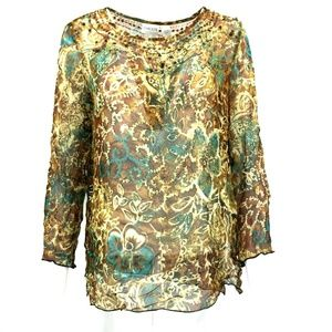 Chico's Long Sleeve Paisley Floral Blouse Size 8